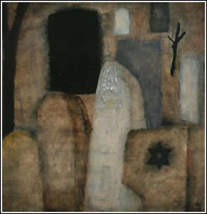 Váli Dezső: Régi zsidó temető (kő és jel) - A/1985/01 (olaj, farost, 120x120.. cm, 1985.1,2)
